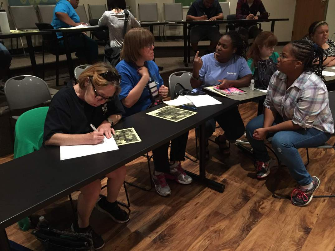 Christina (right) accessed Writing for the Soul Workshop™ in St. Louis, MO. Adonis Reddick, Facilitator